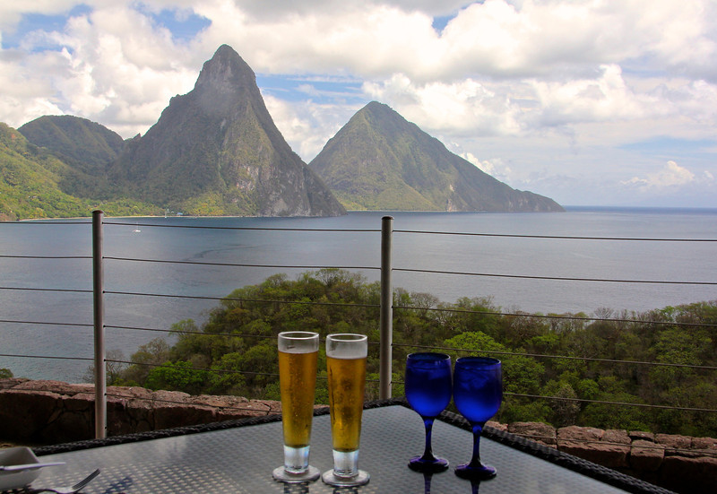 Soaking in the magnificent view at Jade Mountain Resort -St. Lucia