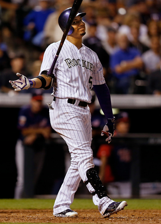 . Colorado Rockies\' Carlos Gonzalez reacts to striking out against the Minnesota Twins during the seventh inning of a baseball game on Friday, July 11, 2014, in Denver. (AP Photo/Jack Dempsey)