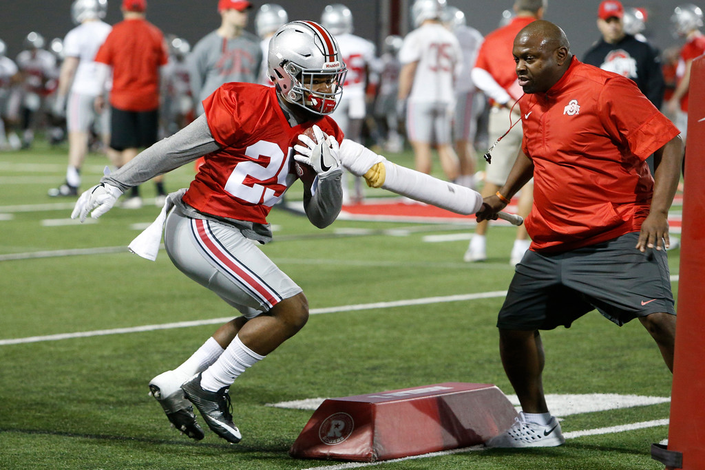 . Ohio State running back Mike Weber runs a drill during their Spring NCAA college football practice Tuesday, March 7, 2017, in Columbus, Ohio. (AP Photo/Jay LaPrete)