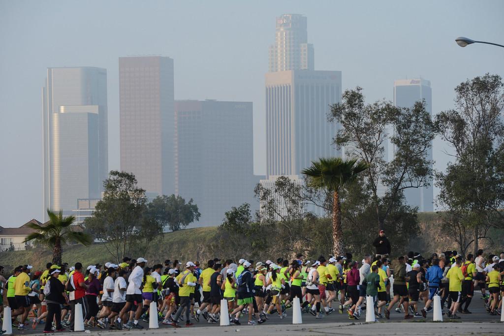 . Runner head towards LA at the start of the LA Marathon Sunday at Dodger Stadium. Photo by David Crane/Staff Photographer