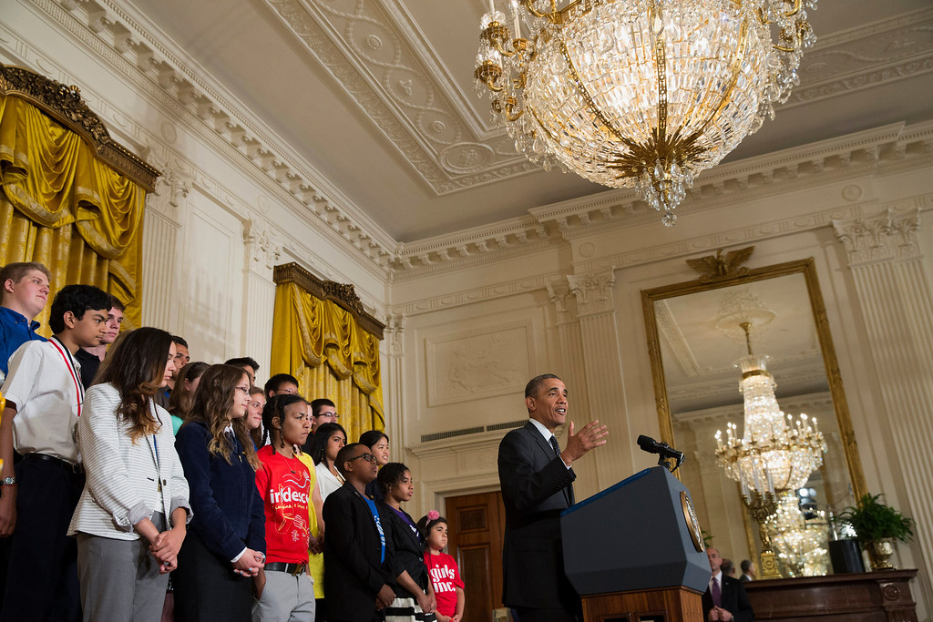 . President Barack Obama speaks in the East Room of the White House in Washington, Tuesday, May 27, 2014, during the 2014 White House Science Fair.  (AP Photo/ Evan Vucci)