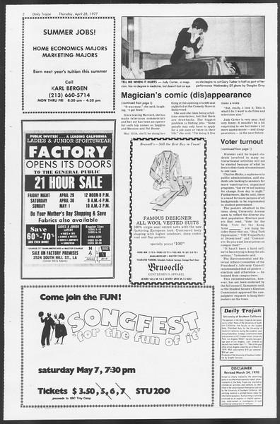 Daily Trojan, Vol. 71, No. 48, April 28, 1977