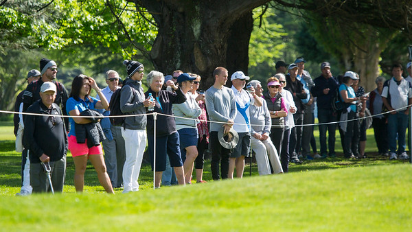 Crowds watching the action on the 12th hole on the 2nd day of competition  in the Asia-Pacific Amateur Championship tournament 2017 held at Royal Wellington Golf Club, in Heretaunga, Upper Hutt, New Zealand from 26 - 29 October 2017. Copyright John Mathews 2017.   www.megasportmedia.co.nz