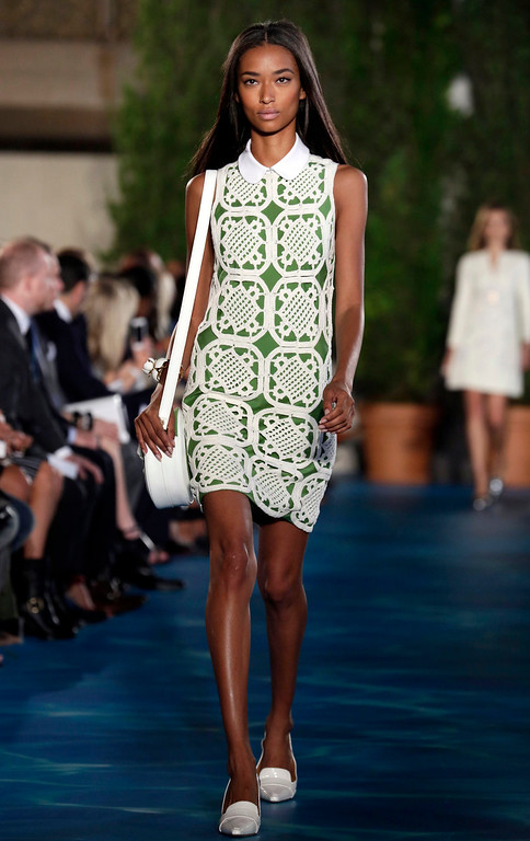. The Tory Burch Spring 2014 collection is modeled during Fashion Week in New York,  Tuesday, Sept. 10, 2013. (AP Photo/Richard Drew)