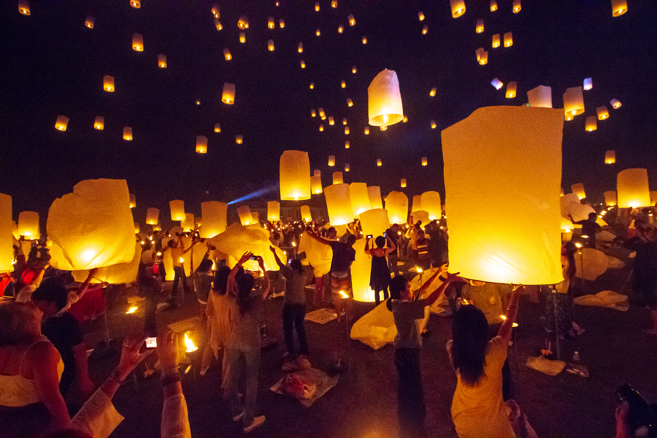 Launching Lanterns at the Yee Peng Lantern Festival