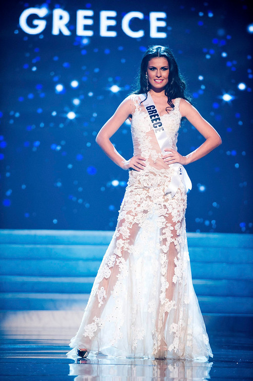 . Miss Greece 2012 Vasiliki Tsirogianni competes in an evening gown of her choice during the Evening Gown Competition of the 2012 Miss Universe Presentation Show in Las Vegas, Nevada, December 13, 2012. The Miss Universe 2012 pageant will be held on December 19 at the Planet Hollywood Resort and Casino in Las Vegas. REUTERS/Darren Decker/Miss Universe Organization L.P/Handout