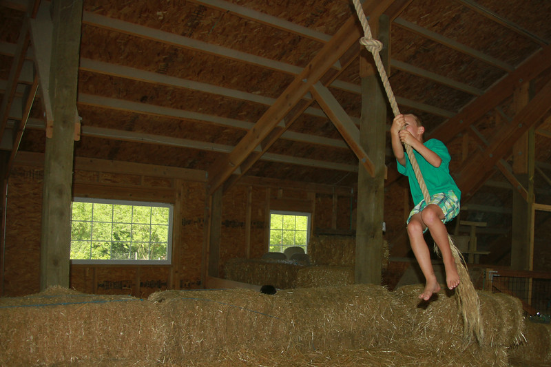 Rope swing in the upper part of the barn