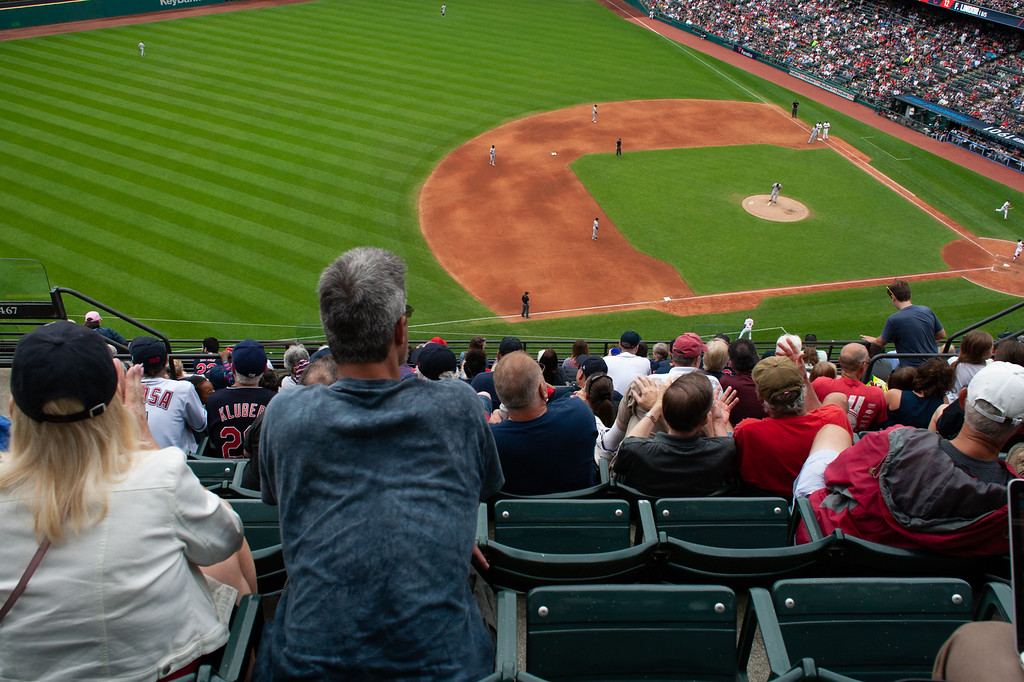 . Fans watch the Indians play the White Sox at Progressive Field on June 20, 2018. The Indians defeated the Sox 12-0. (The Morning Journal/Michael Johnson)