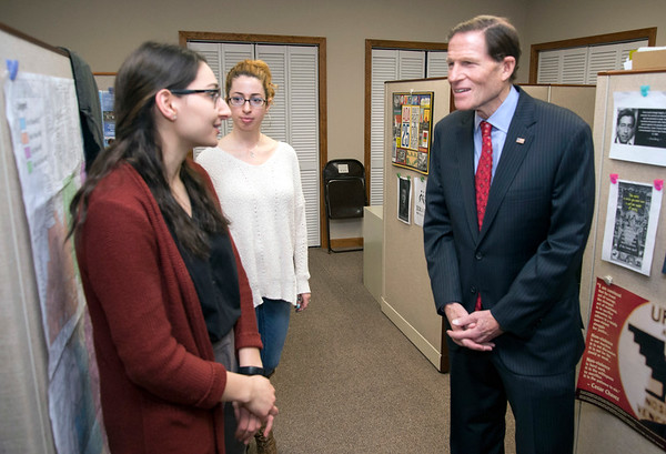 02/07/20 Wesley Bunnell | StaffrrSenator Richard Blumenthal visited Neighbor Works at 223 Arch St on Friday afternoon to announce federal grant money which has been allocated to the program. Michaela Master, an AmeriCorps Vista member, L, speaks with Senator Blumenthal.