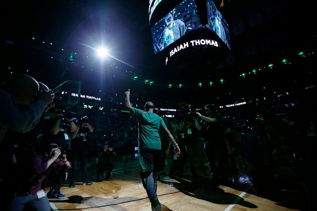. Boston Celtics guard Isaiah Thomas (4) is introduced at Game 1 of the NBA basketball Eastern Conference finals, in Boston, Wednesday, May 17, 2017. (AP Photo/Stephan Savoia)