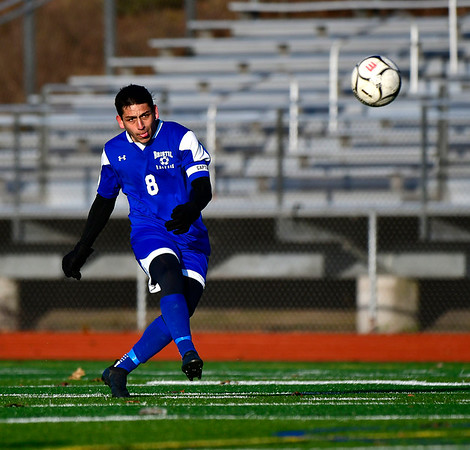 11/13/2019 Mike Orazzi | StaffrBristol Eastern's Dante Costantiello (8) during the Class L Second Round boys soccer tournament with Bunnell High School in Bristol on Wednesday.