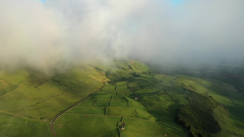 Available in 4K - Aerial video clip on the typical abstract countryside of the east of Terceira Island, one of the islands of the Açores (Azores) archipelago.
