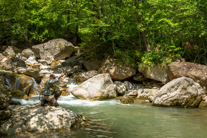 Fishing Tenkara in a beautiful Slovenia alpine stream