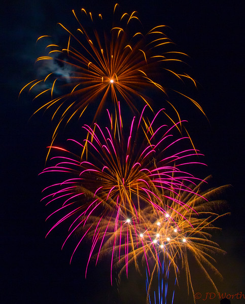 070417 Luray VA Downtown Fireworks - Gold and Plum Sea Urchins with Blue Rockets-0939.jpg