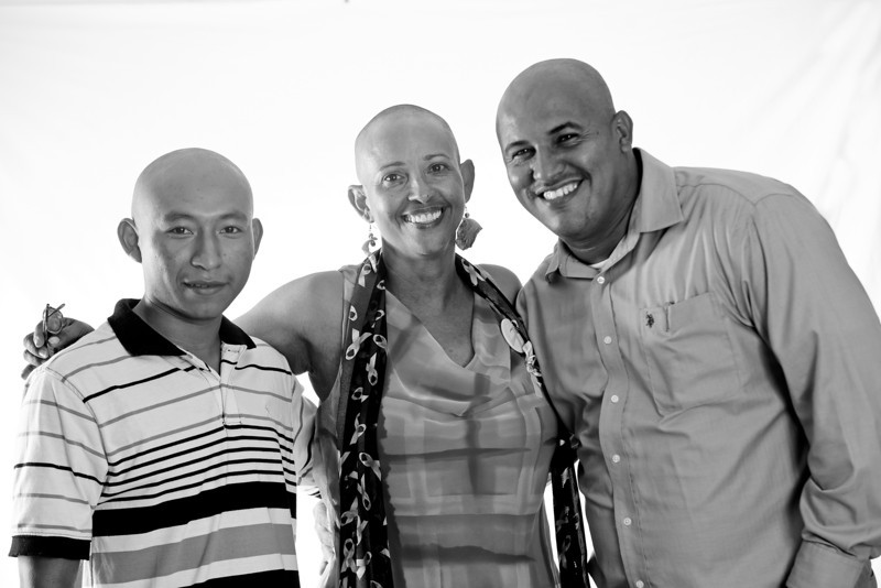 Photos from the Baldmiration Campaign for cancer awareness at the University of Belize