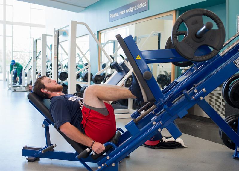 Morgan Miller works up a sweat in the Dugan Wellness Center.