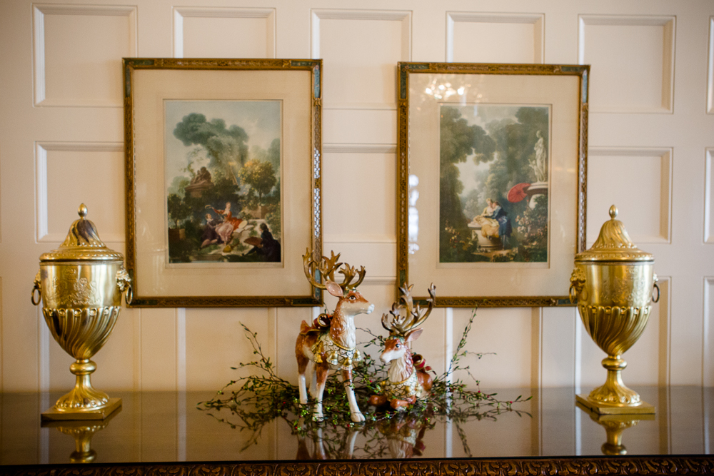 . Reindeer figurines on a buffet in the Governor\'s mansion state dining room were a gift from former first lady Frances Owens. Photo by Mark Broste