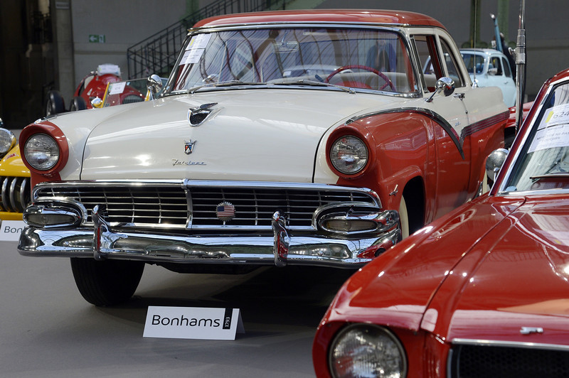 . A Ford Fairlane Club Sedan (1956) is pictured as luxury vintages cars are displayed at an auction at the Grand Palais on February 6, 2013 in Paris. 125 vintage motor cars, 100 collection motorbikes and a 1920\'s Gipsy Moth plane by De Havilland, will be presented at the Bonhams auction on February 7.  BERTRAND GUAY/AFP/Getty Images