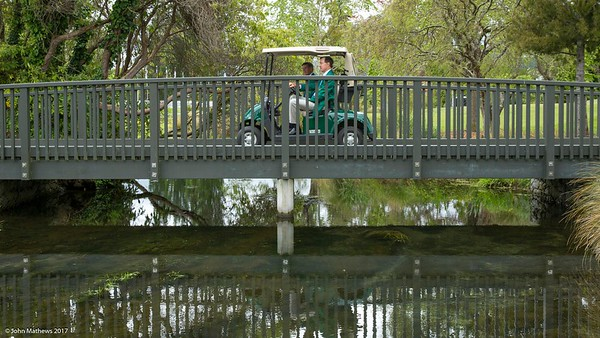 Crossing the bridge from the 1st tee to the fairway on  the 1st day of competition in the Asia-Pacific Amateur Championship tournament 2017 held at Royal Wellington Golf Club, in Heretaunga, Upper Hutt, New Zealand from 26 - 29 October 2017. Copyright John Mathews 2017.   www.megasportmedia.co.nz