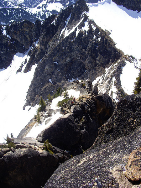 Summit view of climbers coming across the whaleback.