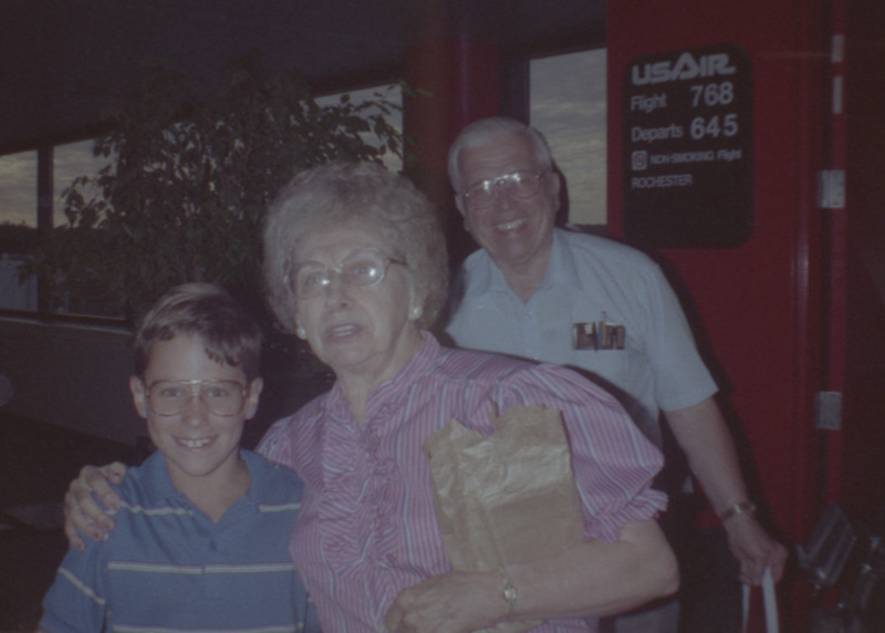 Jonathan with Grandparents at Airport
