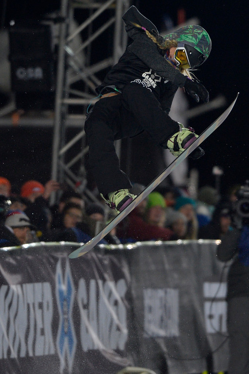 . Hannah Teter rides during the women\'s snowboard half pipe final. Winter X Games on Saturday, January 24, 2015. (Photo by AAron Ontiveroz/The Denver Post)