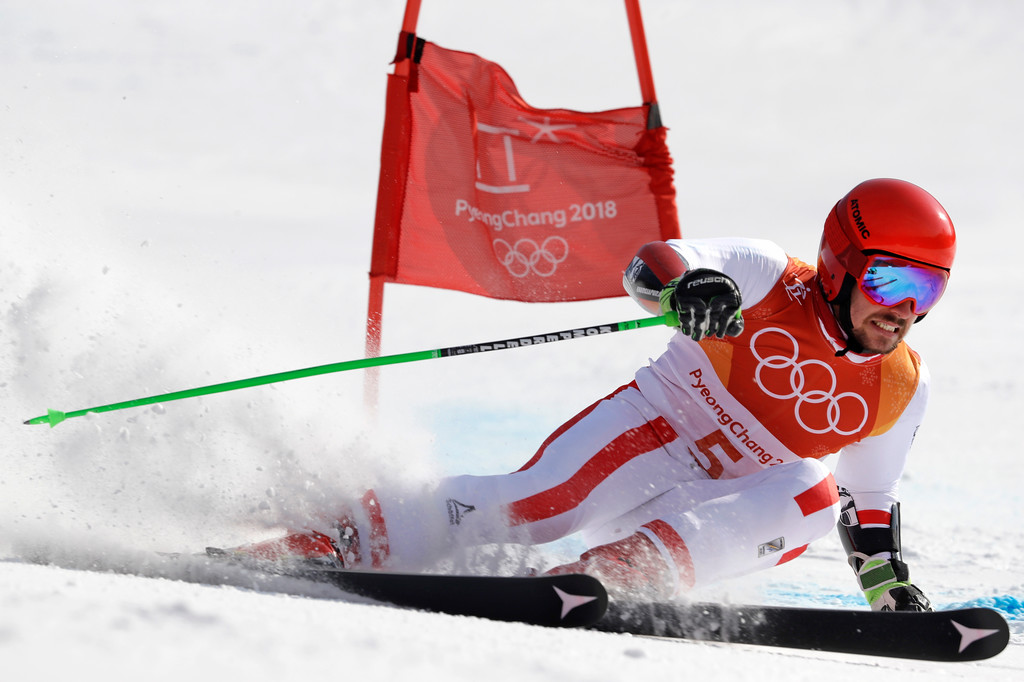. Austria\'s Marcel Hirscher skis to the gold medal in the second run of the men\'s giant slalom at the 2018 Winter Olympics in Pyeongchang, South Korea, Sunday, Feb. 18, 2018. (AP Photo/Luca Bruno)