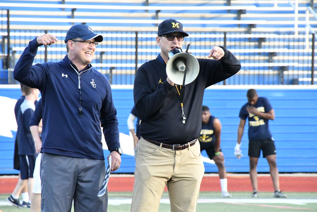 """. Brittany Chay - The News-Herald John Carroll hosted a Michigan satellite camp dubbed \""""Light Up The End\"""" on June 2 at Don Shula Stadium."""