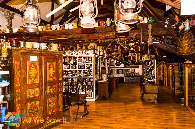 Upstairs from the factory is a Stein collection