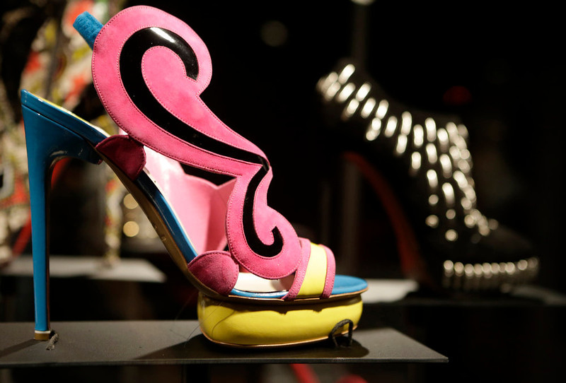 ". A colorful mod shoe ""Cruise\"" by Nicholas Kirkwood is displayed at the \""Shoe Obsession\"" exhibit at The Museum at the Fashion Institute of Technology Museum in New York. The exhibition, showing off 153 specimens, runs through April 13. (AP Photo/Kathy Willens)"