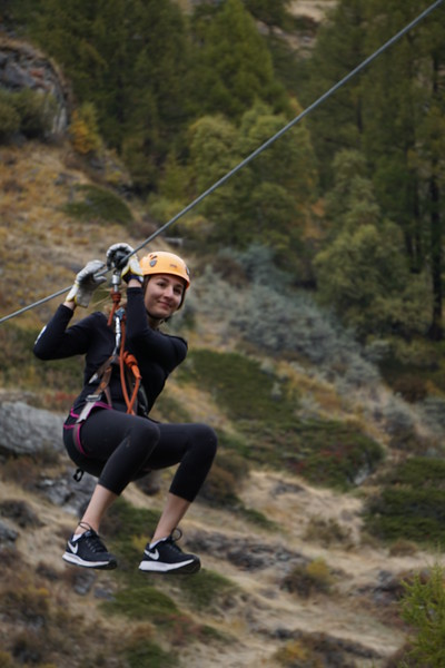 Phaedra enjoying a zip line