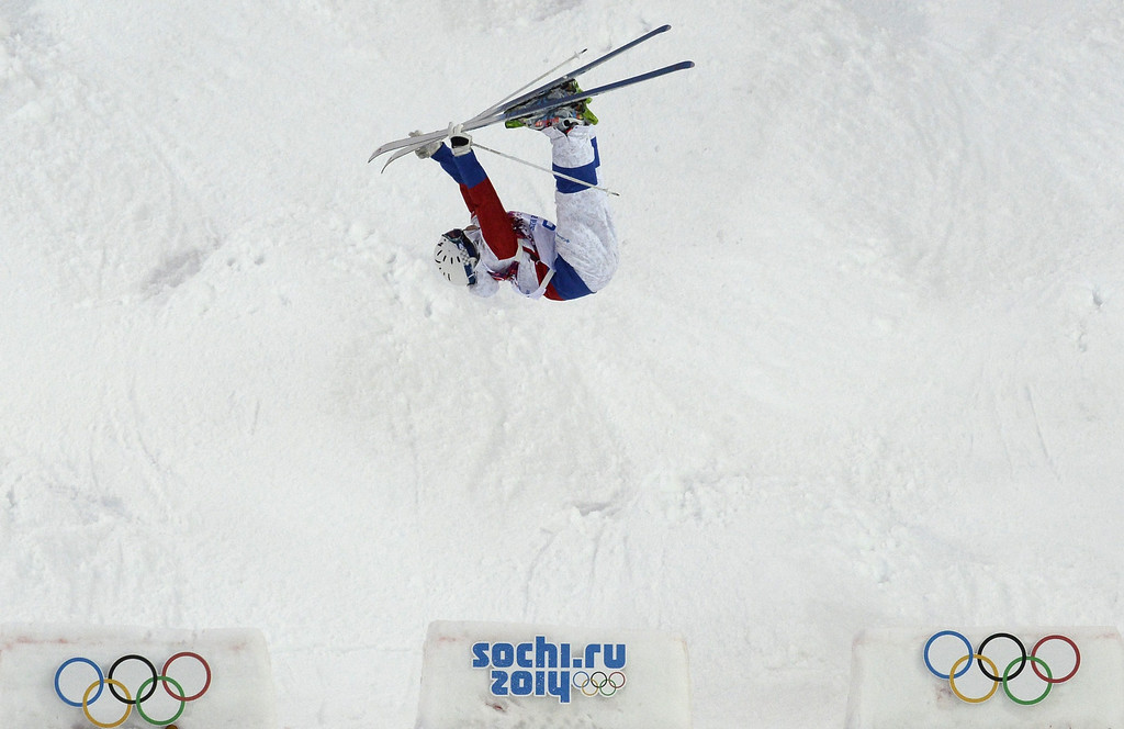 . Russia\'s Alexandr Smyshlyaev competes in the Men\'s Freestyle Skiing Moguls qualifications at the Rosa Khutor Extreme Park during the Sochi Winter Olympics on February 10, 2014.         AFP PHOTO / FRANCK FIFE/AFP/Getty Images