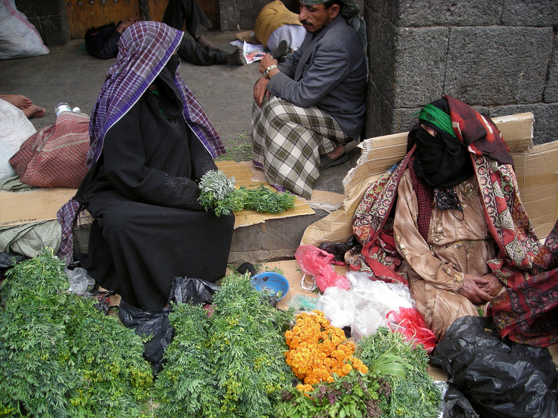 herb and flower seller in old Sana'a