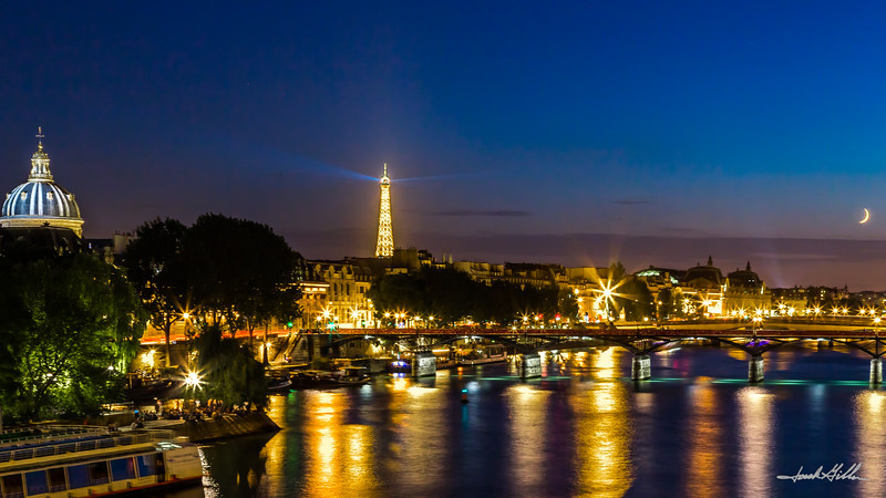 City of lights on the Seine River