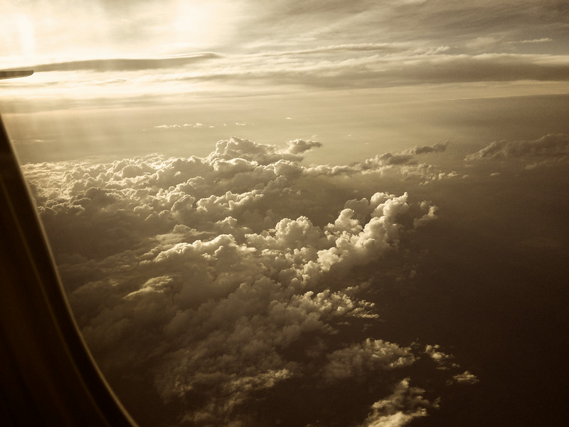 Looking at the clouds out the window of a southwest airlines Boeing 737