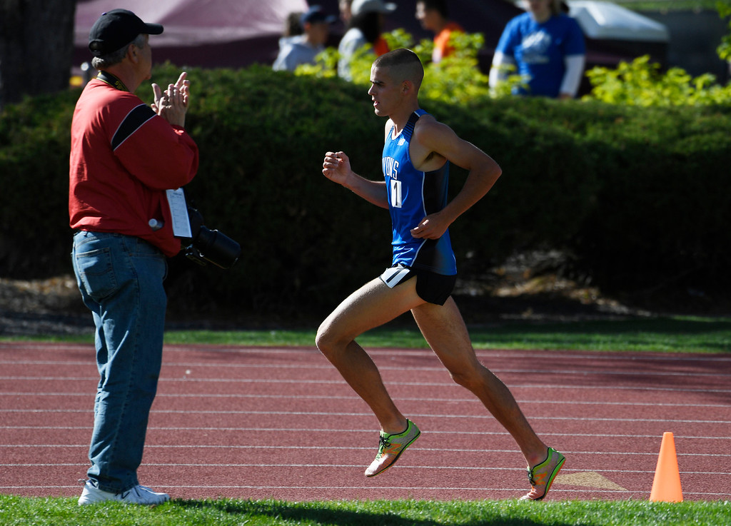 . LAKEWOOD, CO - May 20: Paul Roberts, Lyons High School, rounds a curve during the boys 2A 3200 meter run at the Colorado State High School Track and Field Championships at Jeffco Stadium May 20, 2016. Roberts won the race with a time of 9:26:17, a new meet record. (Photo by Andy Cross/The Denver Post)