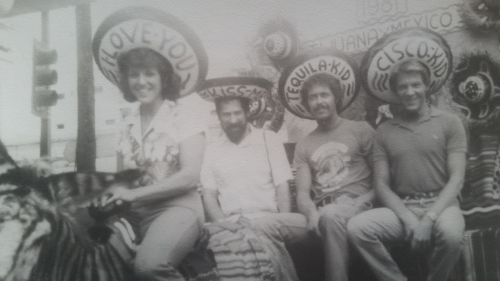 "Description of . The Permanent Family Record: Writes THE COOK B.: ""This picture was taken in 1981 in Tijuana. I took my fiancé, Rick, now my husband of 31 years, to meet my two brothers in San Diego for the first time. My brothers thought this was a great way to welcome Rick into the family. Rick is wearing the Tequila Kid hat. He still is a good sport!"""