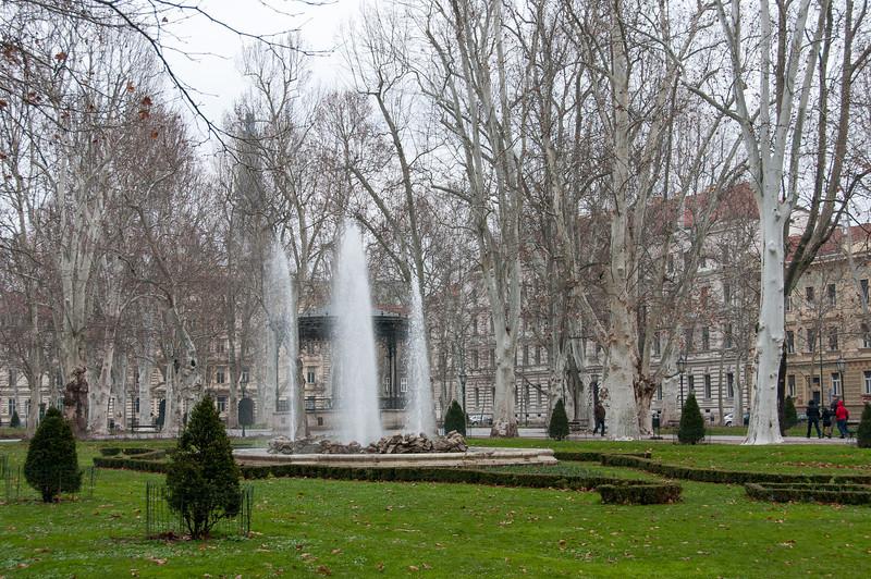 Fountain in the middle of park Zrinjevac in Zagreb, Croatia