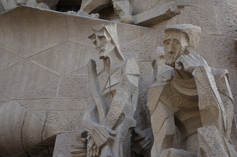 Statuary in front of one of the entrances to La Sagrada Família.