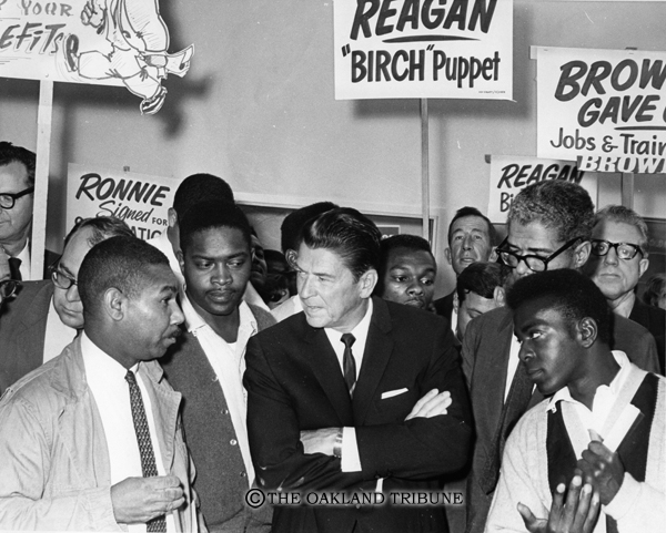 . Oakland, CA September 23, 1966 - Ronald Reagan at the East Bay Skills Center where he encountered picketers from the Alameda County Central Labor Council. The protest forced the campaign stop to be cut short. (Chris Kjobech / Oakland Tribune Staff Archives)