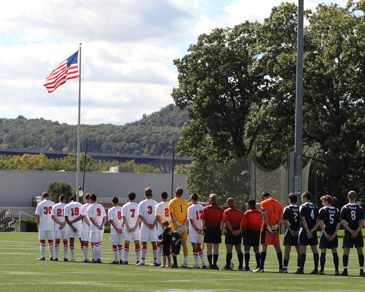 POUGHKEEPSIE, NY - SEPTEMBER 23: Opening ceremony before Yale verses Marist Soccer on September 23, 2012 at Tenney Stadium in Poughkeepsie New York.  Yale defeats Marist 2-1. (Photo by Sandy Tambone)