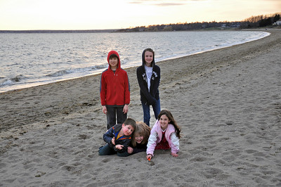The Kelly Kids and Ours at the beach in Barrington