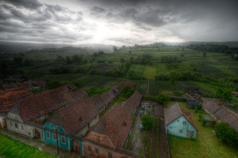 Overlooking view of the village of Calnic in Romania