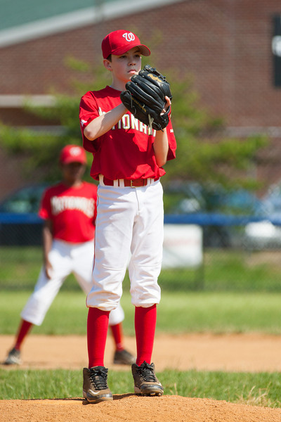 Mac pitching in the top of the 1st inning. The Nationals struggled on both offense and defense in a 2-11 loss to the Orioles. They are now 7-4 for the season. 2012 Arlington Little League Baseball, Majors Division. Nationals vs Orioles (19 May 2012) (Image taken by Patrick R. Kane on 19 May 2012 with Canon EOS-1D Mark III at ISO 400, f4.0, 1/3200 sec and 260mm)
