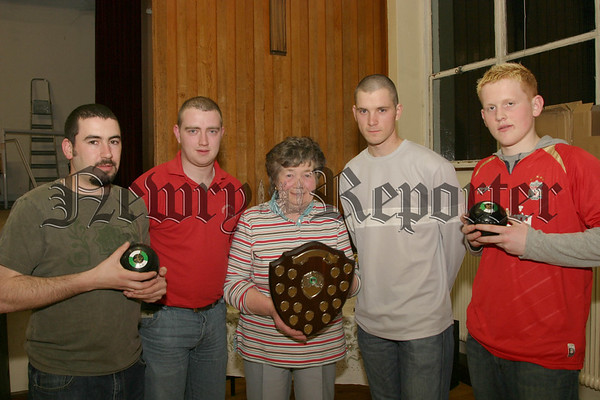 Glenside Easter pairs finalists Gerry Mc Cabe & Fra Dillon (left) and David Beattie & Chris Ardis with Mary Mc Anuff who presented the awards on behalf of sponsors Downeys Butchers (monaghan street newry)