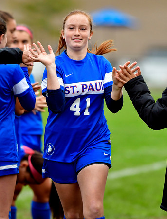 10/6/2018 Mike Orazzi | Staff St. Paul Girls Soccer's Sophia Gerst (41) Saturday.