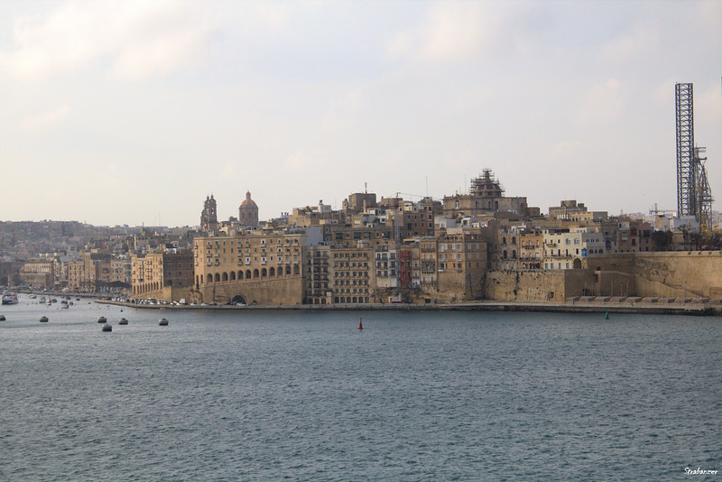 Malta.   View from Valetta to Three Cities.