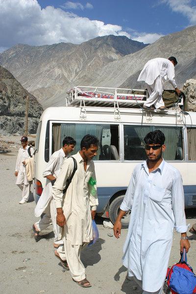 We get ready to head up towards Nanga Parbat.  Zaheer had told everyone to get sunglasses.  Sabir Khan showing off his.