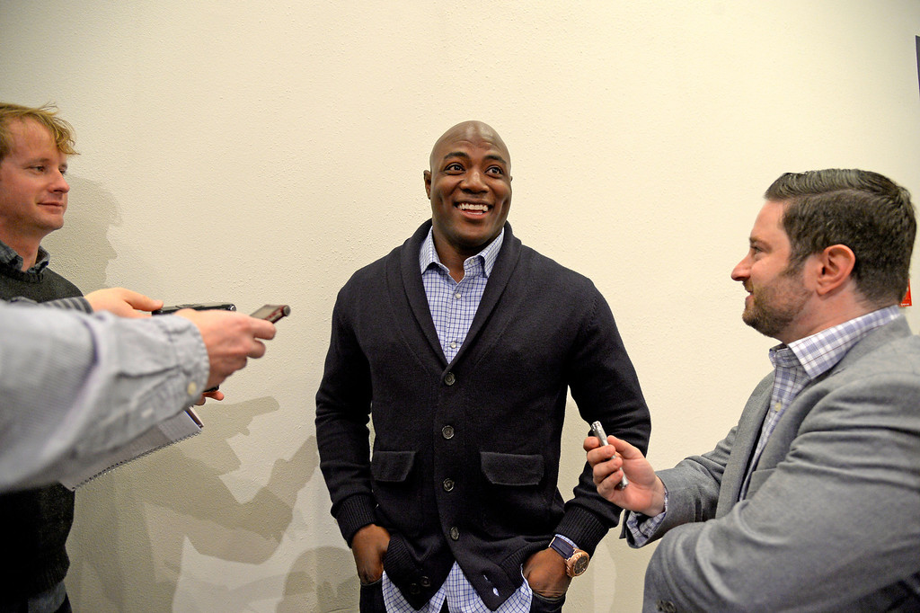. Denver Broncos  defensive end DeMarcus Ware smiles while talking with the media one on one after a press conference. The Broncos reached an agreement on a three-year, $30 million contract March 12, 2014 at Dove Valley. (Photo by John Leyba/The Denver Post)
