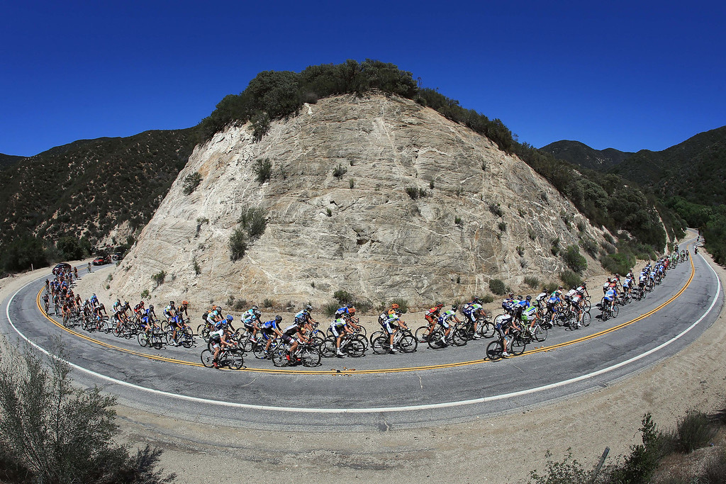 . The peloton passes through Bouquet Canyon during Stage Three of the 2013 Amgen Tour of California from Palmdale to Santa Clarita on May 14, 2013 in Santa Clarita, California.  (Photo by Doug Pensinger/Getty Images)